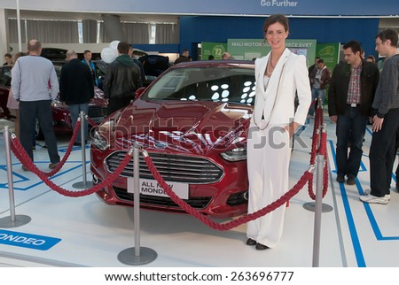 "BELGRADE-MARCH 21:""52th INTERNATIONAL MOTOR SHOW "".Car Ford ALL NEW MONDEO on Belgrade car show.March 21,2015 in Belgrade,Serbia. - stock photo"