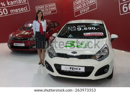 "BELGRADE-MARCH 21:""52th INTERNATIONAL MOTOR SHOW "".Car KIA NEW RIO on Belgrade car show.March 21,2015 in Belgrade,Serbia. - stock photo"