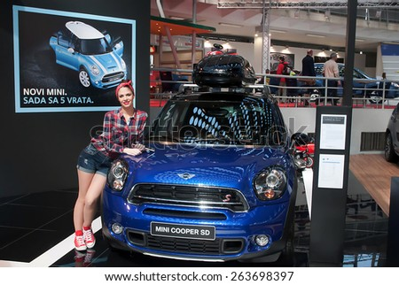 "BELGRADE-MARCH 21:""52th INTERNATIONAL MOTOR SHOW "".Car Mini Cooper SD on Belgrade car show.March 21,2015 in Belgrade,Serbia. - stock photo"
