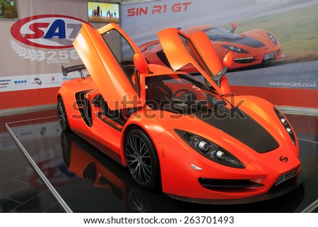 "BELGRADE-MARCH 21:""52th INTERNATIONAL MOTOR SHOW "".Car SIN R1 GT on Belgrade car show.March 21,2015 in Belgrade,Serbia. - stock photo"