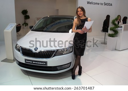 "BELGRADE-MARCH 21:""52th INTERNATIONAL MOTOR SHOW "".Car Skoda RAPID SPACEBACK on Belgrade car show.March 21,2015 in Belgrade,Serbia. - stock photo"