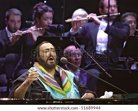 BELGRADE - MAY 21: Luciano Pavarotti, famous tenor, sings during concert  May 21, 2005 in Belgrade, Serbia. - stock photo
