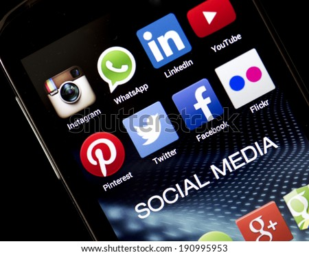 BELGRADE - MAY 05, 2014 Popular social media icons Facebook, Twitter and other on smart phone screen close up - stock photo
