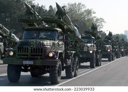 BELGRADE-OCROBER12:Air Defense missile system SA-3 Goa.On preparations for the parade Serbian Army.On October 12,2014 in Belgrade,Serbia  - stock photo