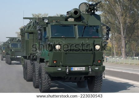 BELGRADE-OCTOBER12:Self-propelled guns.On preparations for the parade Serbian Army.On October 12,2014 in Belgrade,Serbia  - stock photo