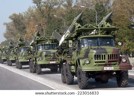 BELGRADE-OCTOBER 12:Surface-to-air missile system SA-3 Goa.On preparations for the parade Serbian Army.On October 12,2014 in Belgrade,Serbia  - stock photo