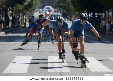 BELGRADE,SEPTEMBER 7:Unidentified participant at the 16th Belgrade Rollerskating Race on September 7,2013 in Belgrade,Serbia - stock photo