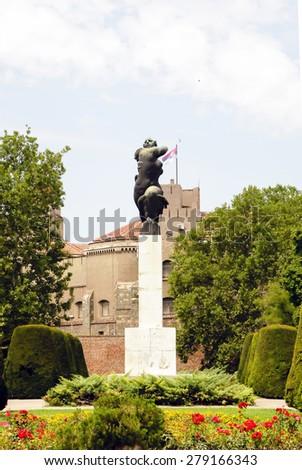 BELGRADE, SERBIA -August 4, 2014: - France monument at Kalemegdan Park in Belgrade Serbia - stock photo