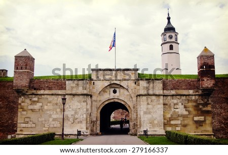 BELGRADE, SERBIA -August 4, 2014: - Stambol Gate is the main entrance to the citadel, on August 4, 2014: in Belgrade. - stock photo