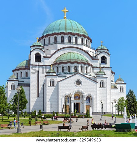 Belgrade, Serbia. Church of Saint Sava, one of the largest Orthodox churches in the world. - stock photo