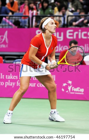 BELGRADE, SERBIA - FEBRUARY 6: Svetlana Kuznetsova in action during Fed Cup tennis match Serbia vs Russia  February 6, 2010 in Belgrade, Serbia. - stock photo