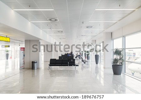 BELGRADE, SERBIA - FEBRUARY 18, 2014: Waiting lounge at Belgrade airport Nikola Tesla, the fastest growing major airport in Europe. - stock photo
