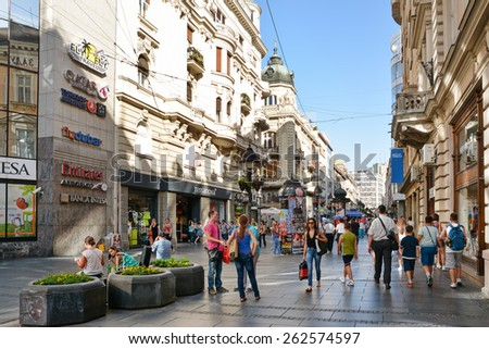 BELGRADE, SERBIA, JULY 2,2014: People walking in Knez Mihailova Street, the main pedestrian and shopping zone in Belgrade,protected by law as one of the oldest and most valuable landmarks of the city. - stock photo