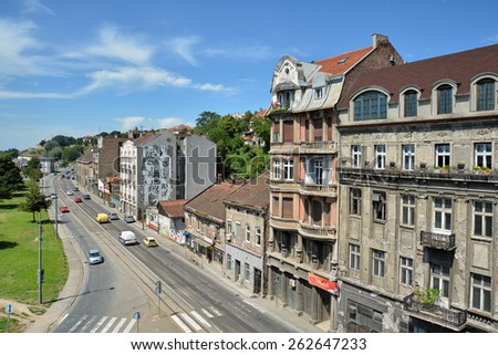 BELGRADE, SERBIA, JULY 2,2014: Top view of Karadordeva Street, one of the oldest streets of Belgrade, capital city of Serbia. - stock photo