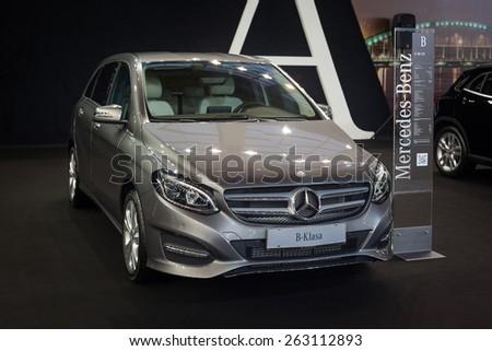 Belgrade, Serbia - March 19, 2015: MERCEDES B180 CDI presented at Belgrade 52nd International Motor Show - MSA (OICA), press day.  - stock photo