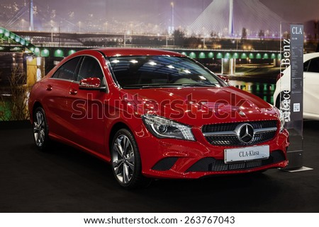 Belgrade, Serbia - March 19, 2015: MERCEDES CLA 180 presented at Belgrade 52nd International Motor Show - MSA (OICA), press day.  - stock photo