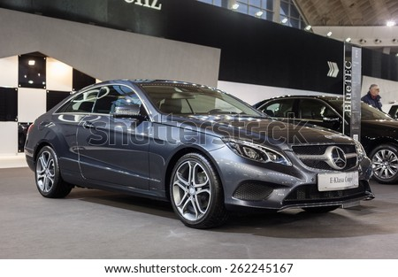 Belgrade, Serbia - March 19, 2015: MERCEDES E220 BlueTEC Coupe presented at Belgrade 52nd International Motor Show - MSA (OICA), press day.  - stock photo