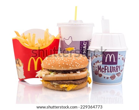 BELGRADE, SERBIA - NOVEMBER 5, 2014: McDonald's meal on white background, includes Big Mac, French Fries, McFlurry and Coke cup. - stock photo
