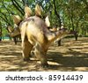 BELGRADE, SERBIA-SEPTEMBER 30:  Stegosaurus, replicas of a  dinosaurs in natural size reconstructed according to the latest scientific discoveries at museum on September 30, 2011 in Belgrade, Serbia. - stock photo