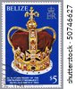 BELIZE - CIRCA 1979: A stamp printed in Belize shows the crown, a series dedicated to 25-th anniversary of the coronation of Her Majesty Queen Elizabeth II, circa 1979 - stock photo