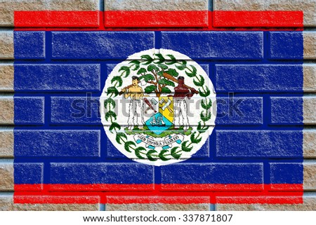 Belize flag painted on old brick wall texture background - stock photo