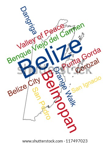 Belize map and words cloud with larger cities - stock photo
