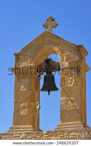 Bell Greek Orthodox Church on the island of Crete  - stock photo
