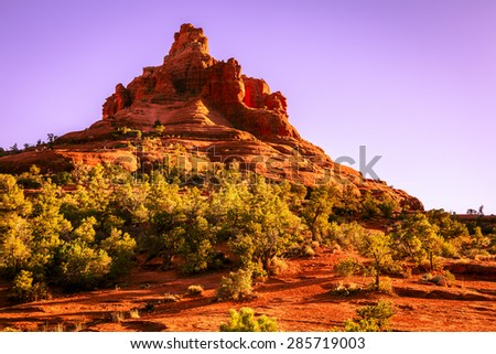 Bell Rock Butte in Sedona, Arizona in evening light - stock photo