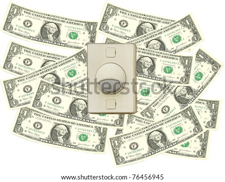 Bell switch over dollar bill - stock photo