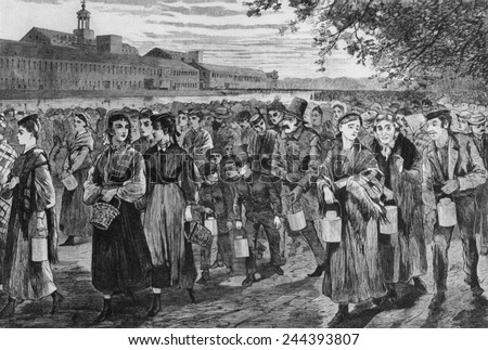 Bell-Time,' wood engraving after Winslow Homer drawing of 1868 shows workers leaving the Lawrence, Massachusetts, factory at the end of their 13 hour day. - stock photo