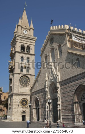 Bell Tower and Astronmical Clock in Messina - stock photo