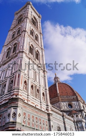 Bell tower and dome of the cathedral of Florence, Italy - stock photo