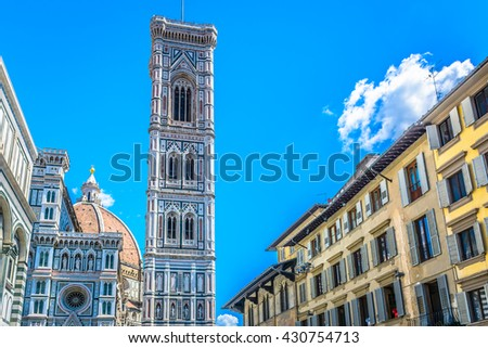 Bell tower and duomo in Florence, capital of Tuscany region, Italy, spring time. / Bell tower duomo Florence Italy. / Selective focus. - stock photo
