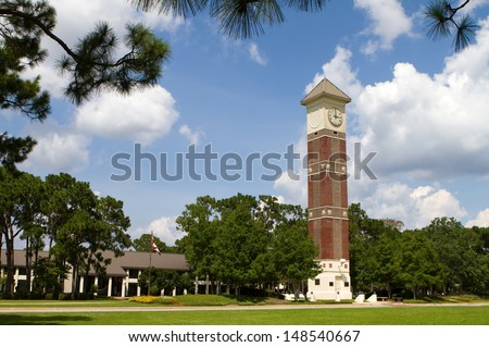 Bell tower at Pensacola State College campus, a public education learning college located in Pensacola, Florida. - stock photo