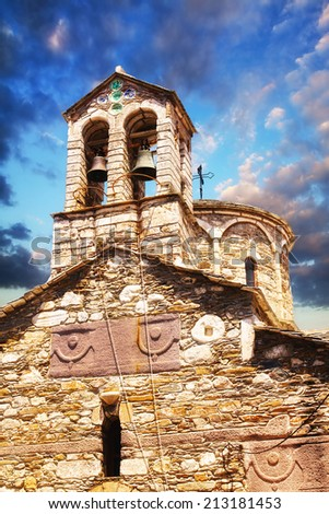 Bell tower detail of a church in Skopelos Town - stock photo