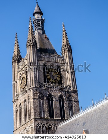 Bell tower in the medieval Cloth Hall in Ypres (Ieper), Belgium, which was reconstructed between 1933 and 1967 following destruction in the World War I conflict - stock photo