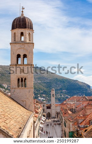 Bell tower in the old town of Dubrovnik, Croatia - stock photo