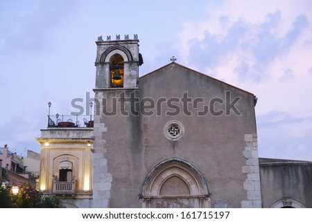 Bell tower of a church, Taormina, Province of Messina, Sicily, Italy - stock photo