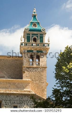 Bell tower of the Carthusian monastery in Valldemossa. Majorca, Balearic Islands Spain. - stock photo