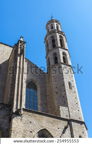 Bell tower of the church of Santa Maria del Mar in Barcelona - stock photo