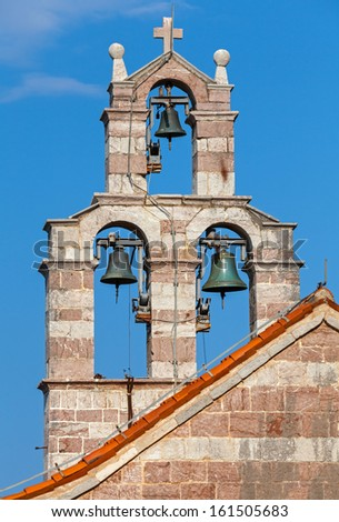 Bell tower of the Serbian Orthodox Church in the monastery Gradiste, Montenegro - stock photo