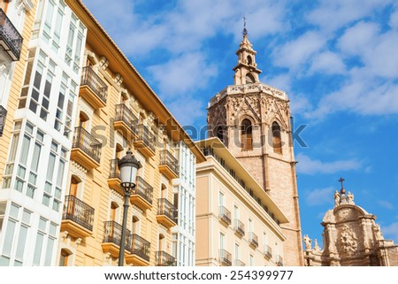 bell tower of the Valencia Cathedral in Valencia, Spain - stock photo