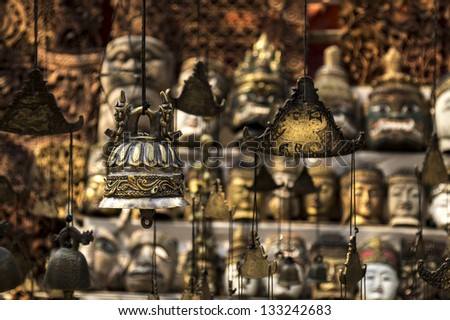 Bell with artistic pattern  selling at shop - stock photo