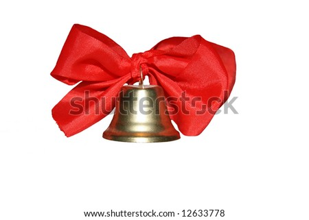 Bell with red ribbons - stock photo