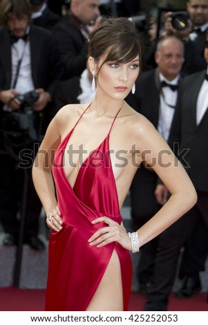 """Bella Hadid attending the """"The Unkown Girl (La Fille Inconnue)"""" film premiere during The 69th Cannes Film Festival, on 18th May 2016 at Palais des festivals in Cannes, France. - stock photo"""