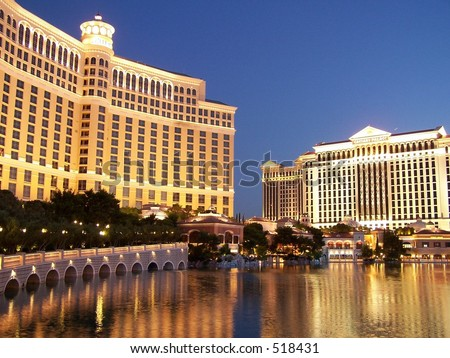 Bellagio and Caesar's Palace in reflecting pool, Las Vegas - stock photo