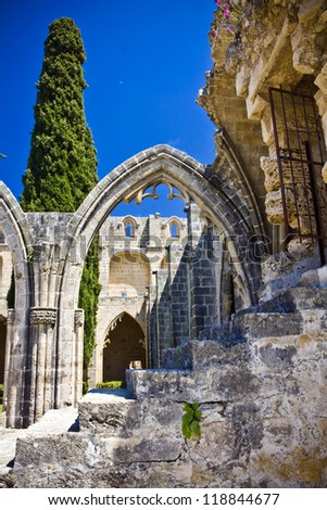 Bellapais Abbey in Northen Cyprus - stock photo