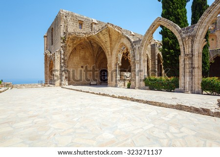 Bellapais Abbey of Premonstratensian order (13th c.), Kyrenia, North Cyprus - stock photo