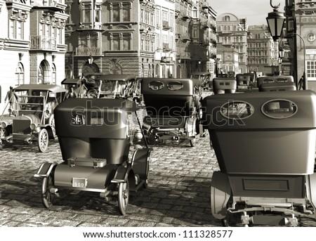Belle Epoque city and autos retro - stock photo