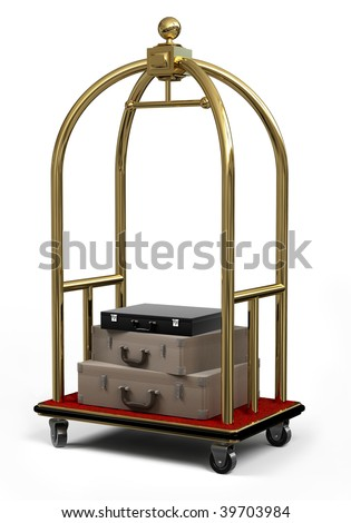Bellman's luggage cart with suitcases on a white background - stock photo